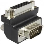 DVI - VGA átalakító adapter, 1x DVI aljzat 24+5 pól. - 1x VGA dugó 270°, fekete, Delock