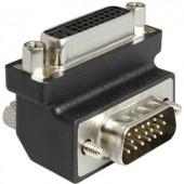 DVI - VGA átalakító adapter, 1x DVI aljzat 24+5 pól. - 1x VGA dugó 90°, fekete, Delock