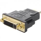 HDMI - DVI átalakító adapter, 1x HDMI dugó - DVI aljzat 24+5 pól., aranyozott, fekete, Renkforce