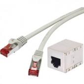 Hálózati hosszabbítókábel RJ45 CAT 6 S/FTP 0,25 m, szürke, aranyozott, renkforce