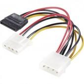 SATA - IDE Y tápkábel átalakító [1x IDE dugó, 4 pólusú - 1x SATA alj 15 pólusú, IDE aljzat 4 pólusú] Renkforce 975476