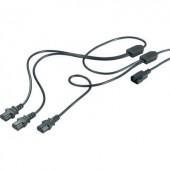 3 pólusú hálózati tápkábel elosztó [3db C14-es catlakozó - 1db C13 csatlakozó dugó] 3.20m fekete színű 975127