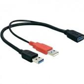 Átalakító, USB 3.0 A típusú aljról + USB 3.0 A típusú dugóról USB 2.0 A típusú dugóra, Delock