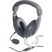 Számítógépes headset 3,5 mm-es jack Vezetékes, Sztereo Basetech BT-260A Over Ear Fekete