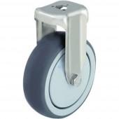 Blickle 574426 Nemesacél készülék tartó görgő hátsó furattal, Ø 100 mm, kivitel: tartó görgő - csúszócsapágy