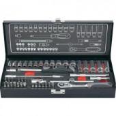 """Racsnis krova készlet, dugókulcs készlet 6,3 mm (1/4"""" ) méretű, 45 részes Toolcraft 826386"""