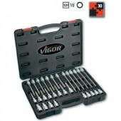 """Belső hatlapú kulcs készlet 12,5 mm ((1/2"""" ), 30 részes, Vigor V1919"""