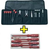 Elektronikai szerszámkészlet táskában, 25 részes + VDE csavarhúzó készlet, 7 részes