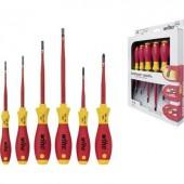 VDE csavarhúzó készlet, kereszt/egyenes, 6 részes, Wiha SlimFix electric 35389