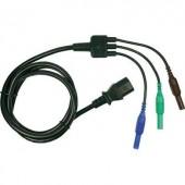 Erősáramú mérőzsinór átalakító [3db 4 mm-es banándugó - C13 tápcsatlakozó] 1.5 m kék, zöld, barna Cliff CIH29920
