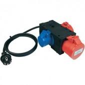 Mérőadapter, mérőkábel 1 fázisú fogyasztókhoz (földelt dugó - 3db CEE aljzat) 32 A Benning 044147