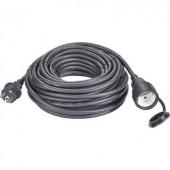 Kültéri, gumi hálózati hosszabbítókábel védőkupakkal, fekete, 20 m, H07RN-F 3G 1,5 mm², Renkforce 1373173
