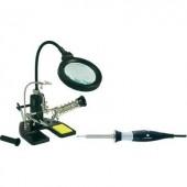 LED-es nagyítós lámpa, harmadik kéz paneltartó, ón és pákatartóval, 15/30W-os forrasztópákával Toolcraft 819049