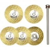 Kerek formájú réz csiszoló korong készlet  5 db-os  drót korong  kefe Ø 22 mm/nyél Ø 2 35 mm  Proxxon Micromot 28 962